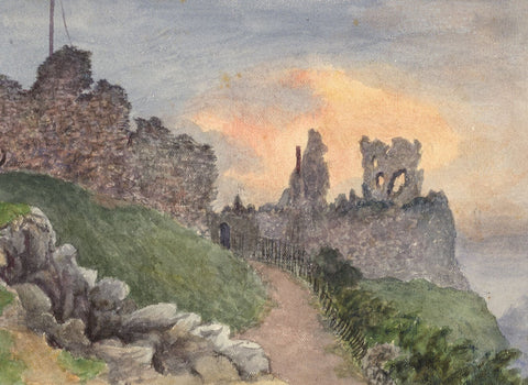 E. Venis, Hastings Castle, Sussex - late 19th-century watercolour painting