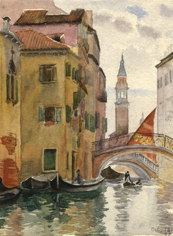 F.A. Eastwood, Canal, Venice - Original 1896 watercolour painting
