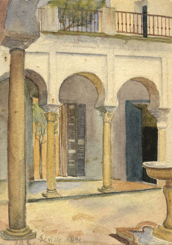 F.A. Eastwood, Patio, Seville, Spain - Original 1891 watercolour painting