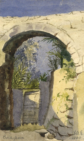 F.A. Eastwood, Stone Arch, Bordighera, Italy -Original 1888 watercolour painting