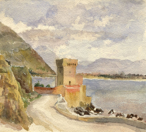 F.A. Eastwood, Torre Paola, Road to Naples, Terracina - 19th-century watercolour