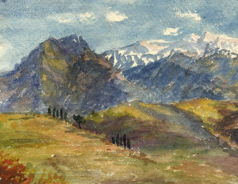 F.A. Eastwood, View in the Pyrenees - Late 19th-century watercolour painting