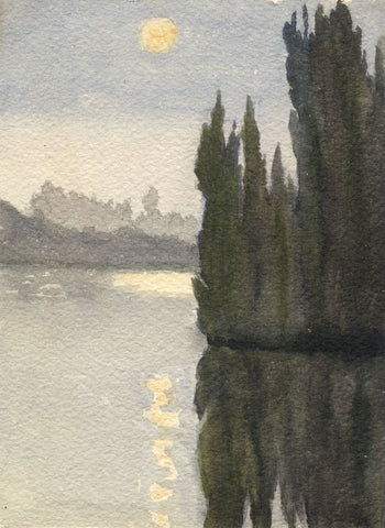 F.A. Eastwood, Seine at Les Andelys, Normandy - Late 19th-century watercolour