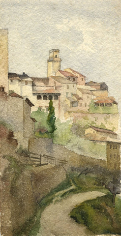 F.A. Eastwood, Torre Grossa San Gimignano Tuscany -Late 19th-century watercolour