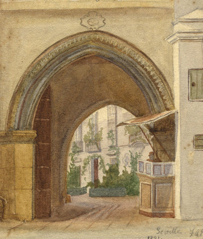 F.A. Eastwood, Archway with Vendor, Seville - Original 1891 watercolour painting