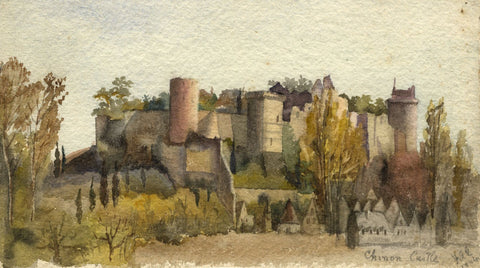 F.A. Eastwood, Chateau Chinon, Loire Valley - Original 1904 watercolour painting