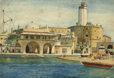 Attrib. Francis H. Eastwood, Algiers Harbour - Late 19th-century watercolour