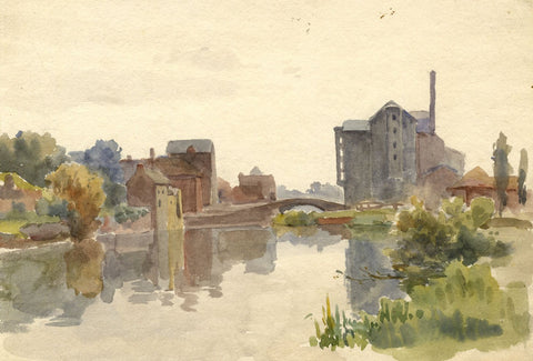 F.A. Eastwood, River Scene with Factory - Late 19th-century watercolour painting