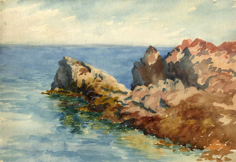 F.A. Eastwood, Coastal Rocks, Cornwall - Late 19th-century watercolour painting