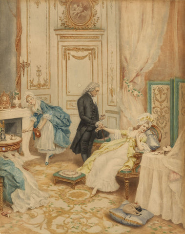 Lucius Rossi, The Physician's Visit - Original late 19th-century watercolour painting
