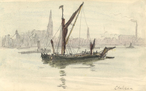 R.C. Matsuyama, Barge on the Thames, Chelsea - 1920s watercolour painting