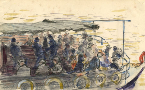 R.C. Matsuyama, Passenger Boat on the Thames - 1920s watercolour painting
