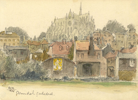 R.C. Matsuyama, Arundel Cathedral, West Sussex - 1938 watercolour painting