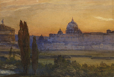 Walter Severn, St Peter's Rome from the Ripetta - Mid-19th-century watercolour