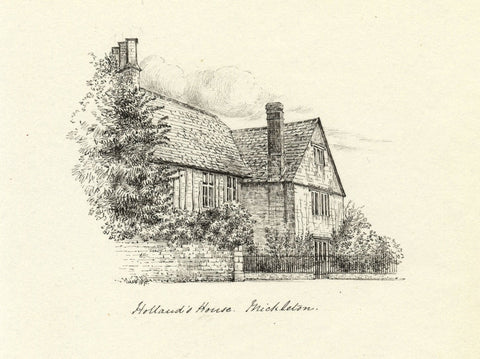 M.S. Smith, Holland's House Mickleton Cotswolds -Original 1871 pen & ink drawing