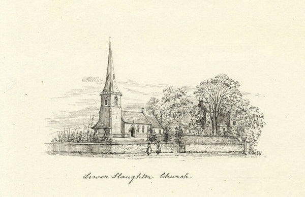 M.S. Smith, St Mary's Church, Lower Slaughter - Original 1871 pen & ink drawing