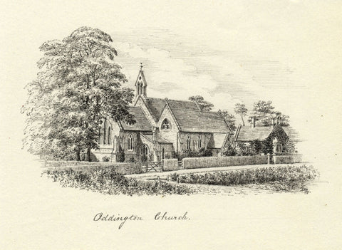 M.S. Smith, Holy Ascension Church, Oddington - Original 1871 pen & ink drawing