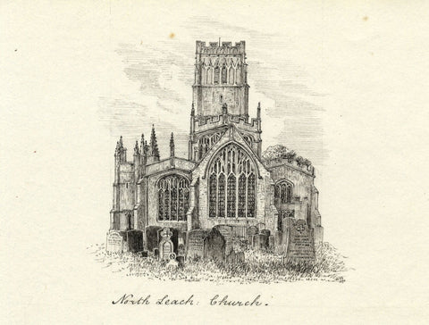 M.S. Smith, Northleach & Clifford Chambers Church - 1871 pen & ink drawing