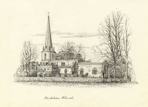 M.S. Smith, St Lawrence's Church, Mickleton - Original 1871 pen & ink drawing