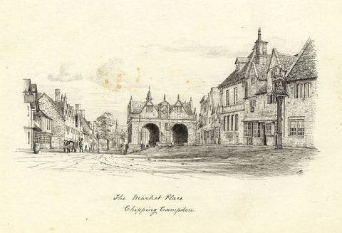 M.S. Smith, Market Hall, Chipping Campden - Original 1871 pen & ink drawing