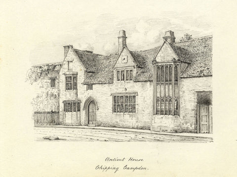 M.S. Smith, Grevel House, Chipping Campden - Original 1871 pen & ink drawing