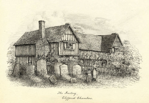 M.S. Smith, The Rectory, Clifford Chambers - Original 1871 pen & ink drawing