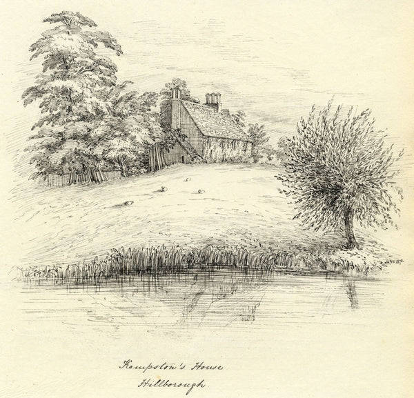 M.S. Smith, Kempston's House by Avon Hillborough Warwick -1870 pen & ink drawing