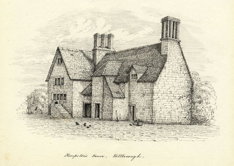 M.S. Smith, Kempston's House, Hillborough, Warwick - c.1870 pen & ink drawing