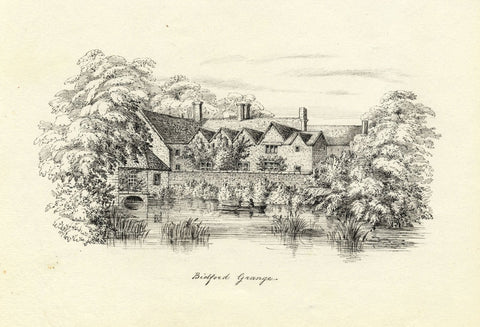 M.S. Smith, Bidford Grange, Bidford-on-Avon - Original 1871 pen & ink drawing