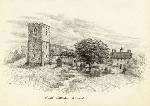 M.S. Smith, St Michaels Church South Littleton - Original 1872 pen & ink drawing
