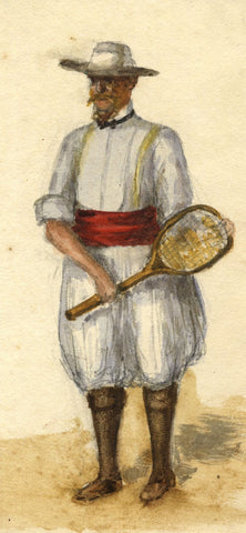 Nora H. Silver, British Expat Dressed for Tennis, Tangier - 1892/3 watercolour