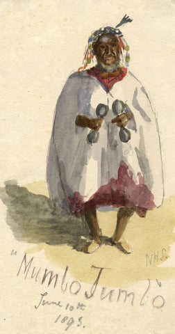 Nora H. Silver, Witch Doctor 'Mumbo Jumbo', Tangier - 1893 watercolour painting