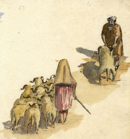 Nora H. Silver, Sheepherders, Tangier, Morocco - 1892/3 watercolour painting