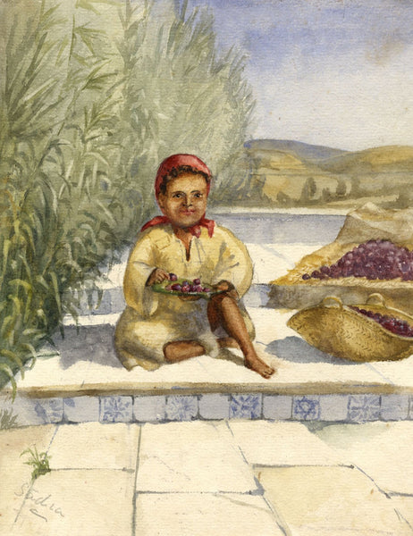 Nora H. Silver, Girl on Steps 'Sadia', Tangier, Morocco - 1892/3 watercolour