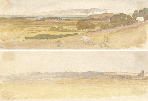 From Road between Christchurch & Bournemouth -Two late 19th-century watercolours