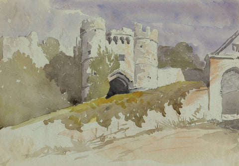 Carisbrooke Castle, Isle of Wight - Late 19th-century watercolour painting