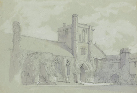 St Cross Hospital, Winchester - Original late 19th-century graphite drawing