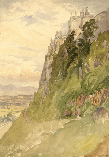 Stirling Castle, Scotland - Original late 19th-century watercolour painting