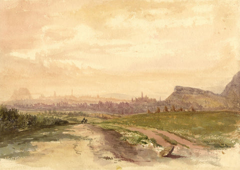 Edinburgh Skyline from Rosslyn Road - Late 19th-century watercolour painting