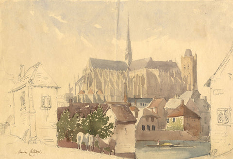 Amiens Cathedral, France - Original late 19th-century watercolour painting