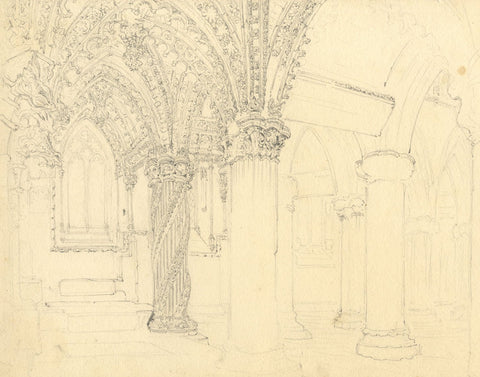 Interior, Rosslyn Chapel, Scotland - Original late 19th-century graphite drawing