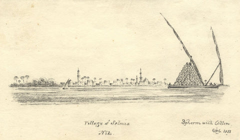 Cotton Boat on the Nile, Egypt - Original 1833 graphite drawing