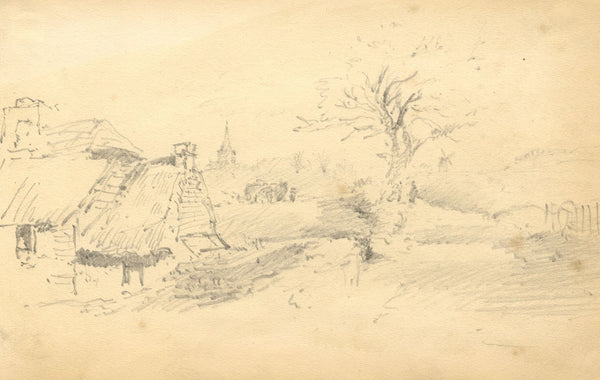 William Burgess of Dover, Rural Study, Church & Mill -Early 19th-century drawing