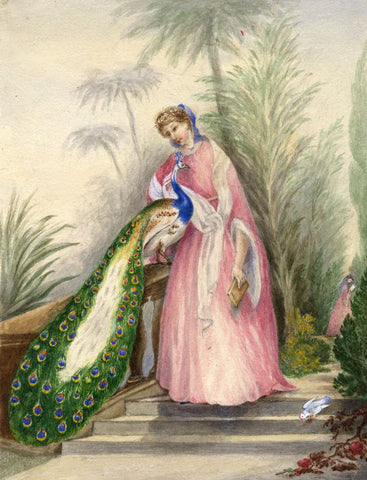 Hannah Mary Rathbone, The Princess & the Peacock - 19th-century watercolour