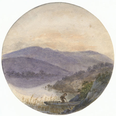 Hannah Mary Rathbone, Boat at Rydal Wordsworth Prelude -19th-century watercolour