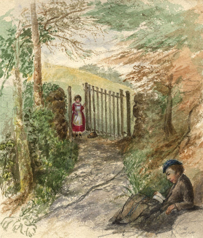 Hannah Mary Rathbone, Eagerly he Read, Wordsworth's Excursion - 1865 watercolour
