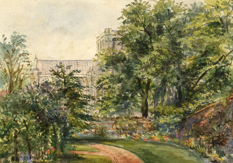 M. Conway, Winchester Cathedral from No.1 The Close - 1876 watercolour painting