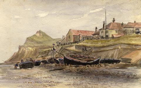 M. Conway, Beached Boats, Lower Sheringham, Norfolk - 1892 watercolour painting