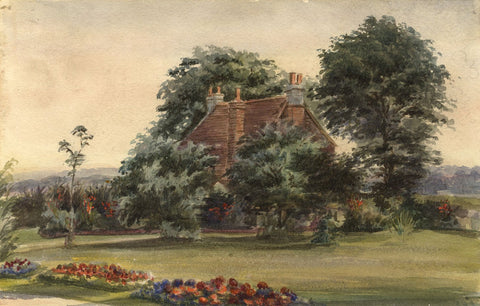 M. Conway, Poppy's Corner, House & Garden - Original 1890 watercolour painting