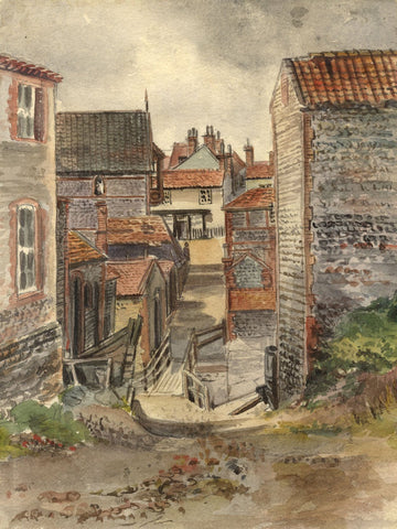 M. Conway, Lower Sheringham, Norfolk - Original 1890 watercolour painting